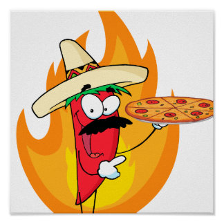 Sombrero Chile Chili Pepper Holds Up Pizza Poster