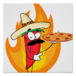 Sombrero Chile Chili Pepper Holds Up Pizza Print