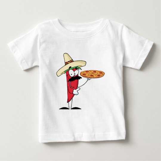 Sombrero Chile Pepper Holds Up Pizza Baby T-Shirt