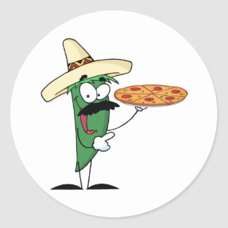 Sombrero Chile Pepper Holds Up Pizza Classic Round Sticker
