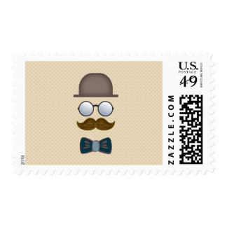 Sombrero de copa, bigote, vidrios y pajarita estampilla