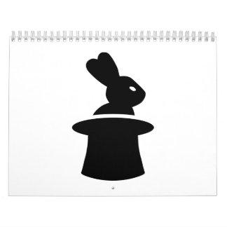 Sombrero de copa del conejo del mago calendarios de pared