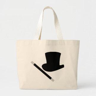 sombrero de copa del mago y vara de la magia bolsa lienzo