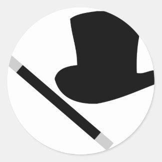 sombrero de copa del mago y vara de la magia pegatinas