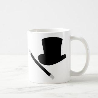 sombrero de copa del mago y vara de la magia taza