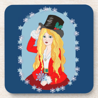 Sombrero de copa del navidad posavasos de bebida