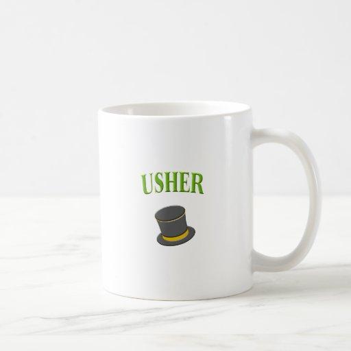 sombrero de copa del ujier taza de café