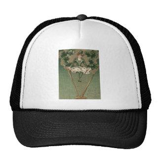 Sombrero de copa del verde del trébol de la arpa d gorros bordados