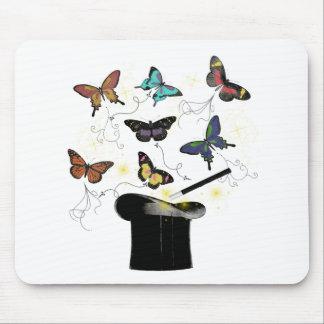 Sombrero de copa mágico Mousepad de la mariposa