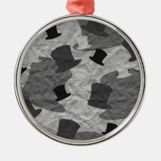 Sombrero de copa negro Camo Adorno Redondo Plateado