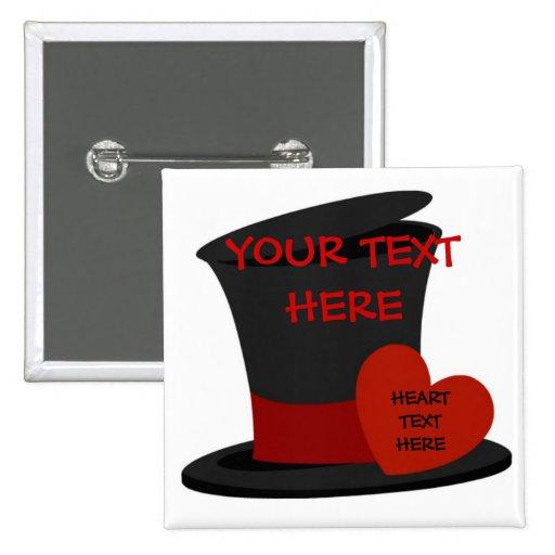 Sombrero de copa negro de encargo pins