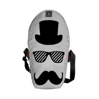 Sombrero de copa, vidrios y bigote bolsa de mensajeria