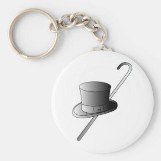 Sombrero de copa y bastón llavero redondo tipo pin