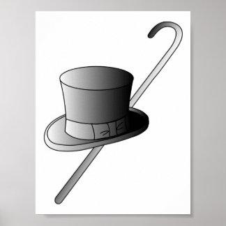 Sombrero de copa y bastón poster