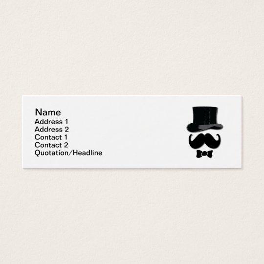 Sombrero de copa y bigote tarjeta de visita pequeña