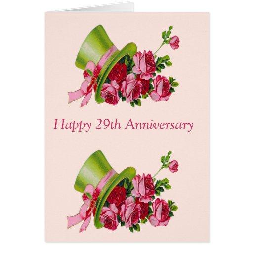 Sombrero de copa y flores, 29no aniversario feliz tarjeta de felicitación