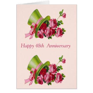 Sombrero de copa y flores 48 o aniversario feliz felicitación