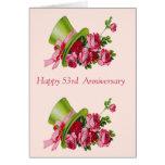 Sombrero de copa y flores, 53.o aniversario feliz tarjeta