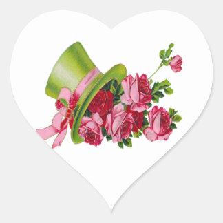 Sombrero de copa y rosas verdes pegatina en forma de corazón