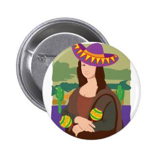 Sombrero de Mona Lisa Pin Redondo 5 Cm