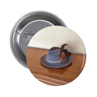 Sombrero flexible italiano del vintage con las plu pin redondo 5 cm