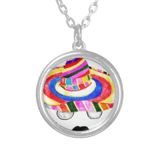 Sombrero Hat Watercolor 2 Silver Plated Necklace