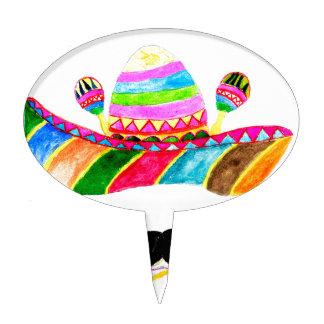 Sombrero Hat Watercolor Cake Topper