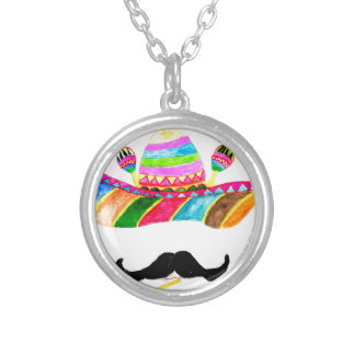 Sombrero Hat Watercolor Silver Plated Necklace