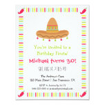 Sombrero Mexican Fiesta Adult Birthday Party 4.25x5.5 Paper Invitation Card