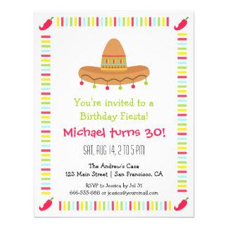 Sombrero Mexican Fiesta Adult Birthday Party Custom Invitations