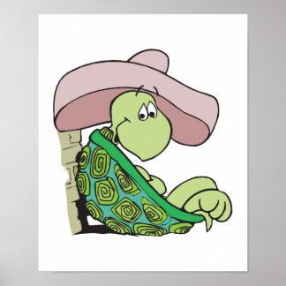 sombrero que lleva de la tortuga linda póster