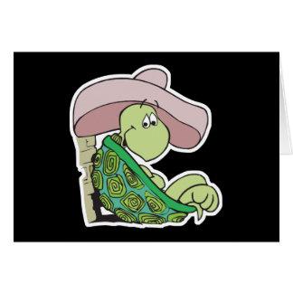 sombrero que lleva de la tortuga linda tarjeta de felicitación