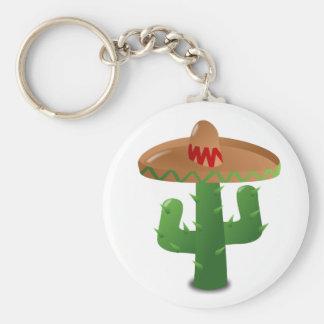 Sombrero que lleva del cactus llavero redondo tipo pin