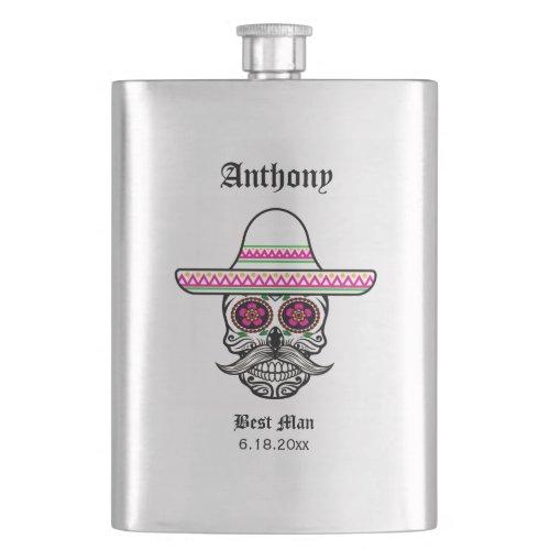 Sombrero Sugar Skull  Best Man Wedding Gift Flask