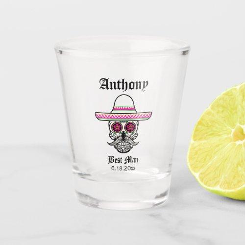 Sombrero Sugar Skull  Best Man Wedding Gift Shot Glass