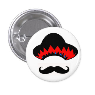 Sombrero & the stache pinback button