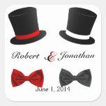 Sombreros de copa y sello gay del sobre del boda pegatina cuadrada