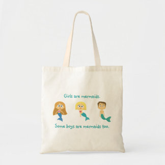 """Some Boys are Mermaids Too"" Budget Tote Bag"