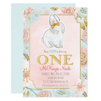 Bunny Birthday Invitations Announcements Zazzle
