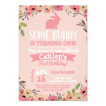 Some Bunny Birthday Easter Invitation Pink