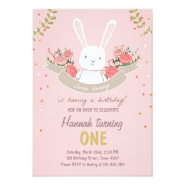 Bunny Birthday Invitations Announcements Zazzle - Bunny birthday invitation template