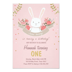 save 60 on pink gold bunny 1st birthday invitations limited time