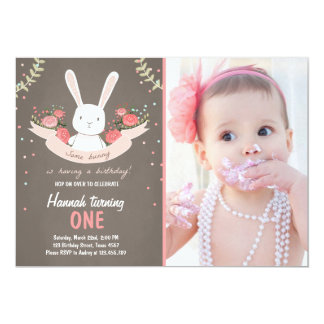 Some Bunny Easter Spring Birthday Invitation Girl