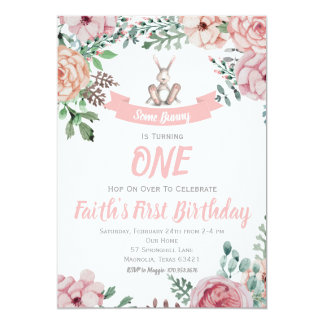 Some Bunny Floral Birthday Invitation