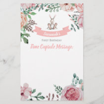 Some Bunny Floral Birthday Time Capsule Note