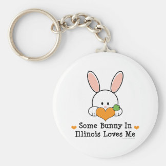 Some Bunny In Illinois Loves Me Key Chain