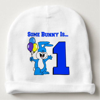 Some Bunny Is One (Blue) Baby Beanie