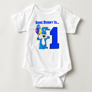Some Bunny Is One (Blue) Baby Bodysuit