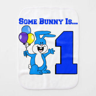 Some Bunny Is One (Blue) Baby Burp Cloth