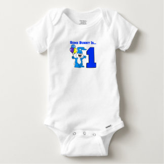 Some Bunny Is One (Blue) Baby Onesie